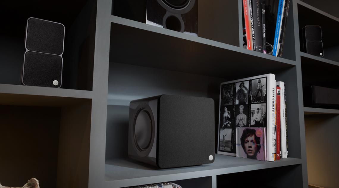 Cambridge Audio Minx Subwoofer on bookshelf