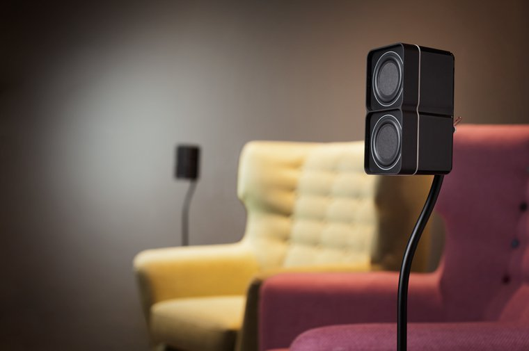 Minx Min Speakers on stands for Hone Cinema