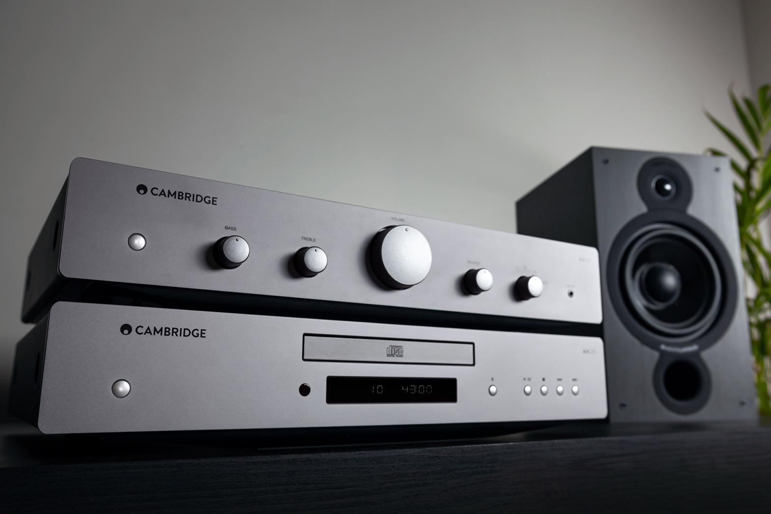 AXA25 integrated amplifier and AXC25 CD player with grey speaker