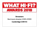 2018 What Hi-Fi award for CXN. Best music streamer between £500 and £1000