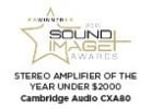 Stereo Amplifier of the year for under $2000 Award for CXA80 from Sound and Image